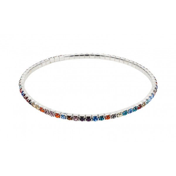 Single Row Multi Coloured Ankle Tennis Bracelet with crystals from Swarovski® Sterling Silver