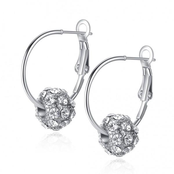 Clear Czech Crystal Ball Hoop Earrings