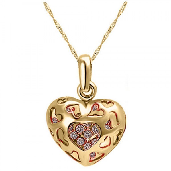 Filagree Rose Gold plated Heart Pendant Made with Czech Crystals