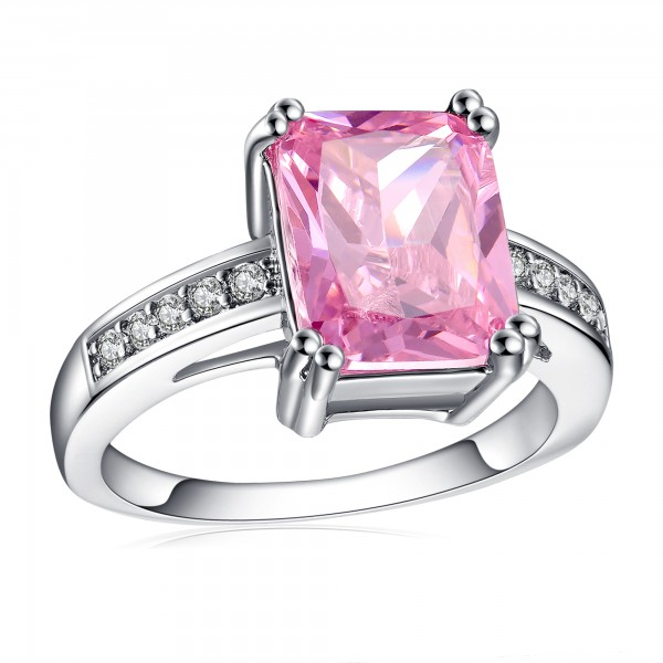 2.5 CARAT Pink Lab-Created Sapphire Emerald Cut Rhodium Plated Ring