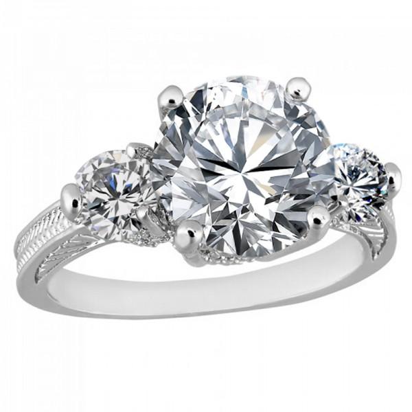 2.5 CARAT Brilliant Cut Clear Lab-Created Sapphire Rhodium Plated Ring