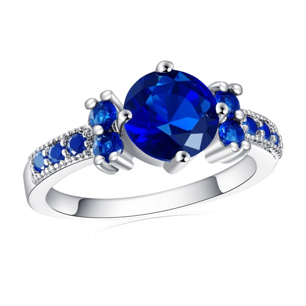 2.33 CARAT Brilliant Cut Blue Lab-Created Sapphire Rhodium Plated Ring