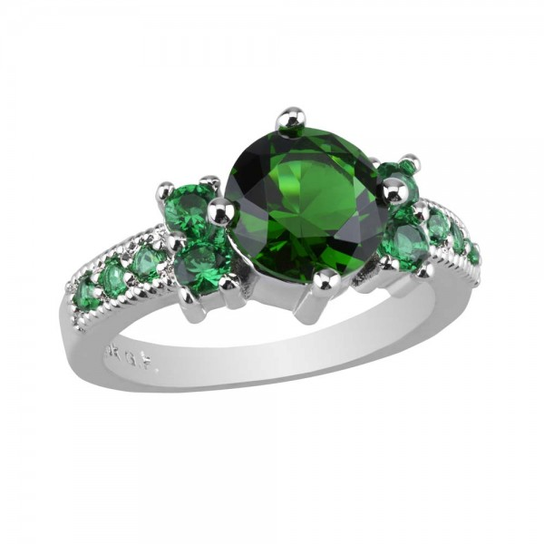 2.33 CARAT Emerald  Brilliant Cut Rhodium Plated Rings