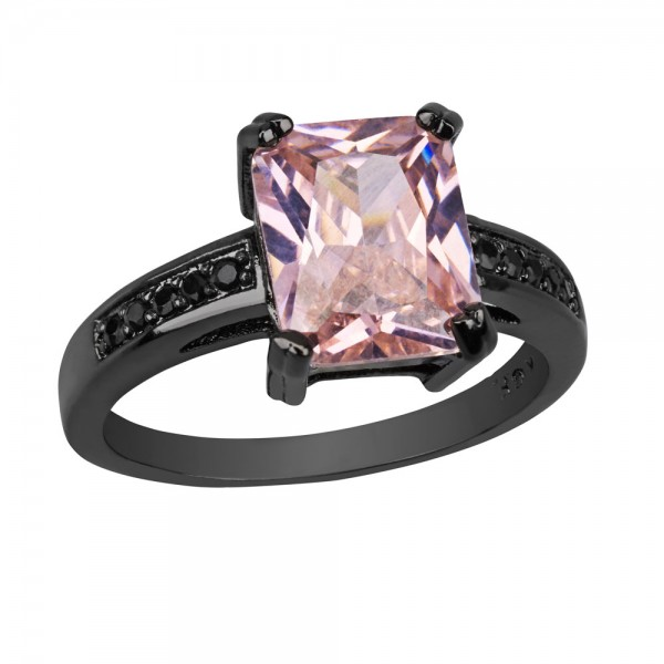 2.5 CARAT Pink Lab-Created Sapphire Emerald Cut 10K Black Gold Ring