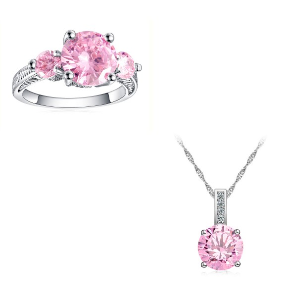 5.0 CARAT Brilliant Cut Pink Lab-Created Sapphire Rhodium Plated Ring & Pendant Set