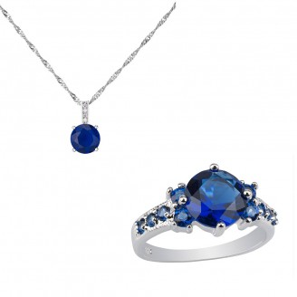 5.0 CARAT Brilliant Cut Blue Lab-Created Sapphire Rhodium Plated Ring & Pendant Set