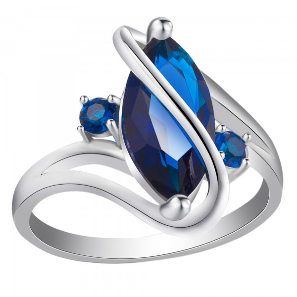 2.5 CARAT Marquis Cut Blue Lab-Created Sapphire Rhodium Plated Ring