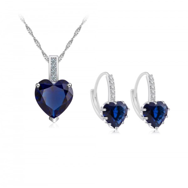 7.5 CARAT Heart Cut Blue Lab-Created Sapphire Rhodium Plated Earring & Pendant Set