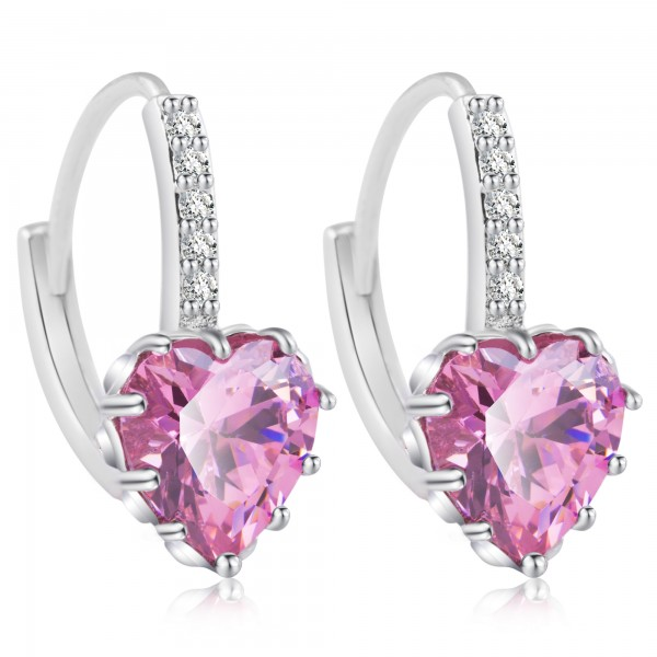 Heart Cut Pink Lab-Created Sapphire Rhodium Plated Earrings