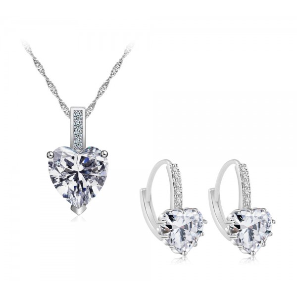 7.5 CARAT Heart Cut Clear Lab-Created Sapphire Rhodium Plated Earring & Pendant Set