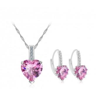 7.5 CARAT Heart Cut Pink Lab-Created Sapphire Rhodium Plated Earring & Pendant Set