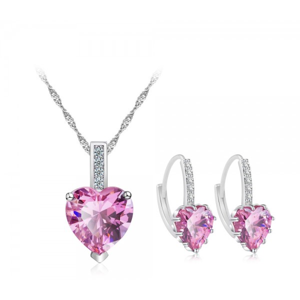 7.5 CARAT Heart Cut Pink Lab-Created Sapphire Rhodium Plated Earring & Pendant Set