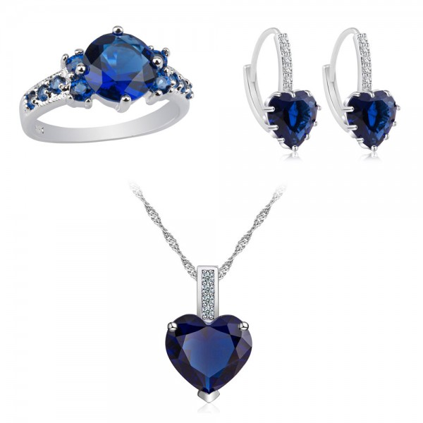 7.33 CARAT Blue Lab-Created Sapphire Rhodium Plated Tri-Set