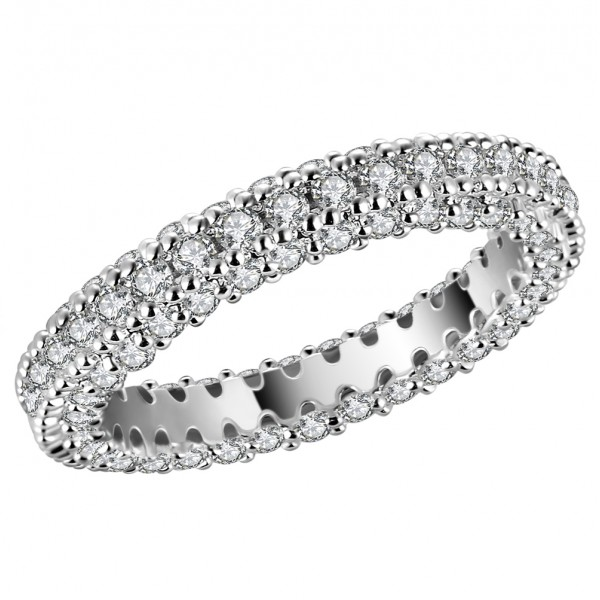 3.00CT Lab-Created Sapphire 10K Rhodium Plated Eternity Band