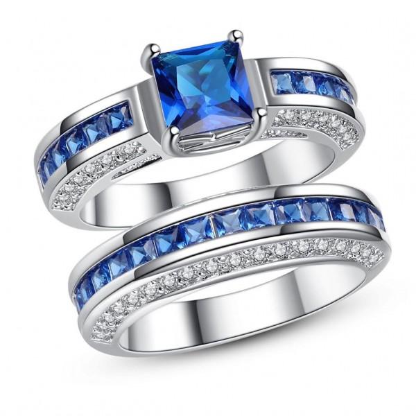 2.5 CARAT Blue Lab-Created Sapphire Princess Cut Rhodium Plated Ring