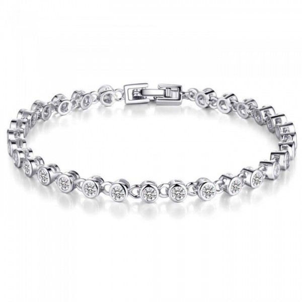 3ct Lab-Created Sapphire Rhodium Plated Bracelet