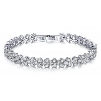 7ct Lab-Created Sapphire Rhodium Plated Multi Link Bracelet