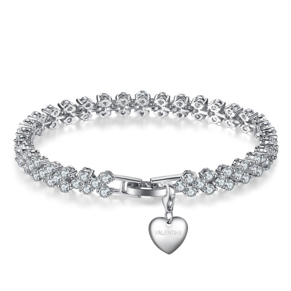 7CT LAB-CREATED SAPPHIRE RHODIUM PLATED MULTI LINK BRACELET WITH CHARM