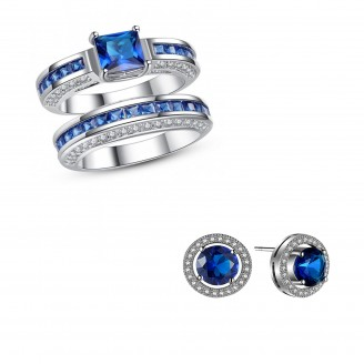 7.5 CARAT BLUE LAB-CREATED SAPPHIRE RHODIUM PLATED RING & EARRING SET