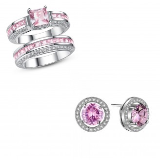 7.5 CARAT PINK LAB-CREATED SAPPHIRE RHODIUM PLATED RING & EARRING SET
