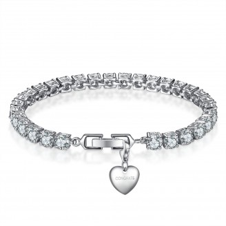 7CT BRILLIANT CUT LAB-CREATED SAPPHIRE RHODIUM PLATED TENNIS BRACELET WITH CHARM