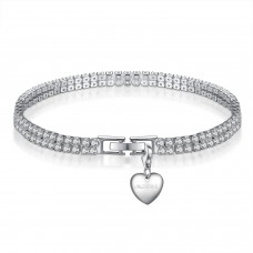 3CT RHODIUM PLATED TWIN ROW LAB-CREATED SAPPHIRE BRACELET WITH CHOICE OF CHARM