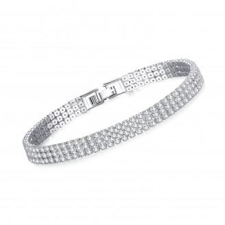 4.5CT Lab-Created Sapphire Rhodium Plated Gem Triple Row Bracelet