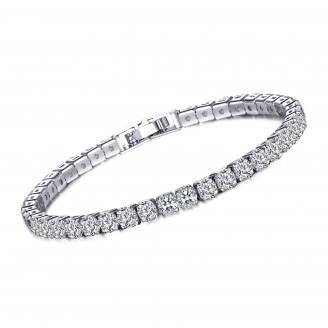 7ct Lab-Created Sapphire Rhodium Plated Single Row Bracelet