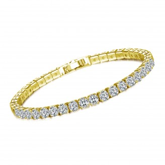 7ct Lab-Created Sapphire 18K Gold Plated Single Row Bracelet