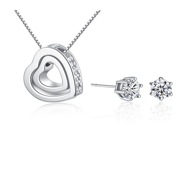 Solitaire Earring and Double Heart Pendant Set with Crystals from Swarovski®