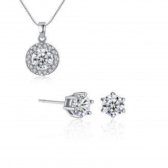 Clear Rhodium Plated Ring Circle Solitaire Pendant & Earring Set