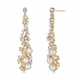 Crystal & Faux Pearl Chandelier Earrings
