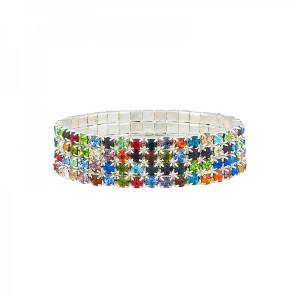 Four Row Multi Coloured Tennis Bracelet plated with Sterling Silver & Cubic Zirconia