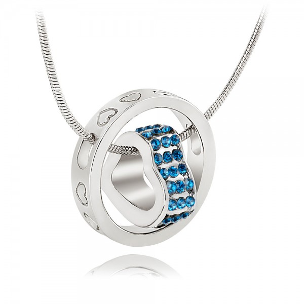 Crystal Heart  & Rhodium Plated Baby Blue Ring Pendant with crystals from Swarovski®