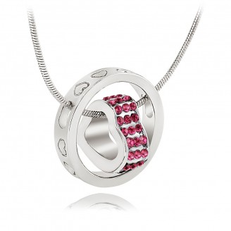 Crystal Heart  & Rhodium Plated Hot Pink Ring Pendant