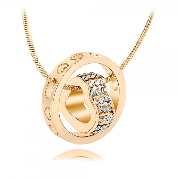 Crystal Heart  &  18K Gold Plated Ring Pendant with crystals from Swarovski®