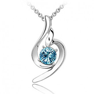 Ocean Blue Swirl Rhodium Plated Ring Pendant Made with Czech Crystals